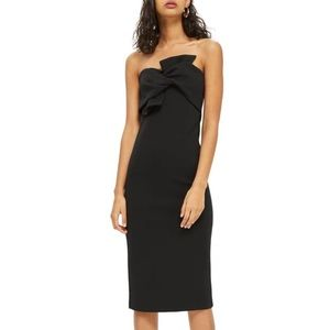 TOPSHOP BOW TWIST TEXTURED MIDI DRESS 👗IN STORES